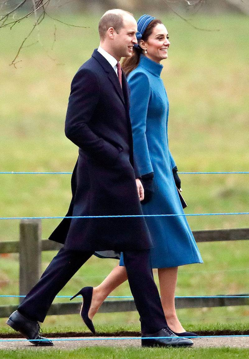 KING'S LYNN, UNITED KINGDOM - JANUARY 06: (EMBARGOED FOR PUBLICATION IN UK NEWSPAPERS UNTIL 24 HOURS AFTER CREATE DATE AND TIME) Prince William, Duke of Cambridge and Catherine, Duchess of Cambridge attend Sunday service at the Church of St Mary Magdalene on the Sandringham estate on January 6, 2019 in King's Lynn, England. (Photo by Max Mumby/Indigo/Getty Images)