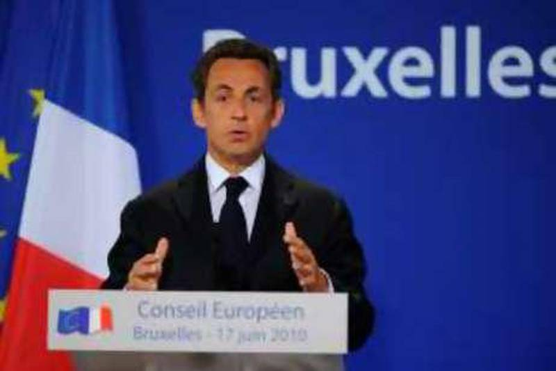 """France's President Nicolas Sarkozy gives a press conference after an European Council gathering EU's heads of state on June 17, 2010 in Brussels. During the one-day meeting, EU leaders were expected to adopt """"Europe 2020"""", the new strategy for jobs and growth, and discuss the forthcoming G 20 summit, economic governance and post-Copenhagen climate strategy.           AFP PHOTO / ERIC FEFERBERG *** Local Caption ***  792719-01-08.jpg"""