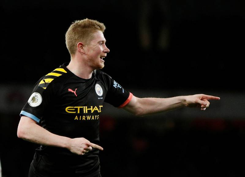 """Soccer Football - Premier League - Arsenal v Manchester City - Emirates Stadium, London, Britain - December 15, 2019  Manchester City's Kevin De Bruyne celebrates scoring their third goal       Action Images via Reuters/John Sibley  EDITORIAL USE ONLY. No use with unauthorized audio, video, data, fixture lists, club/league logos or """"live"""" services. Online in-match use limited to 75 images, no video emulation. No use in betting, games or single club/league/player publications.  Please contact your account representative for further details."""