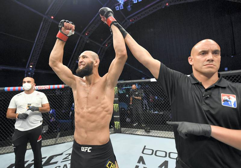 ABU DHABI, UNITED ARAB EMIRATES - JULY 26: Khamzat Chimaev of Czechia celebrates after his TKO victory over Rhys McKee of Northern Ireland in their welterweight fight during the UFC Fight Night event inside Flash Forum on UFC Fight Island on July 26, 2020 in Yas Island, Abu Dhabi, United Arab Emirates. (Photo by Jeff Bottari/Zuffa LLC via Getty Images)