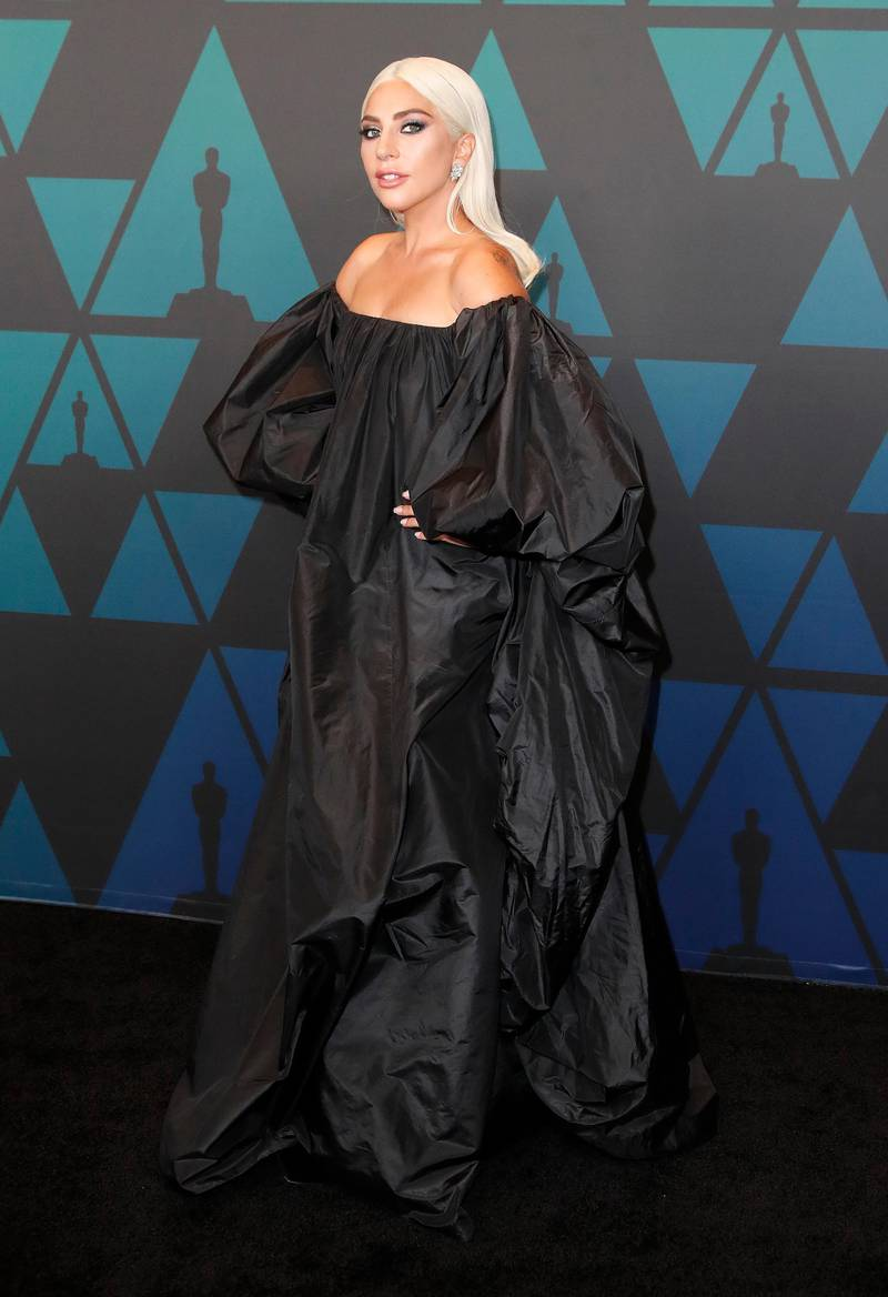 epa07176225 Lady Gaga arrives for the 10th Annual Governor's Awards in Hollywood, California, USA, 18 November 2018. The Board of Governors of the Academy of Motion Picture Arts and Sciences present honorary awards to Marvin Levy, Lalo Schifrin, Cicely Tyson, and the Irving G. Thalberg Memorial Award to Kathleen Kennedy and Frank Marshall.  EPA-EFE/MIKE NELSON