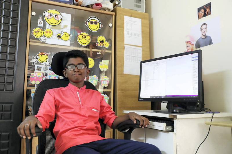 DUBAI,  UNITED ARAB EMIRATES , May 7 – 2019 :-  Aadithyan Rajesh who has started his own software at his home in Al Qusais area in Dubai. ( Pawan Singh / The National ) For POAN. Story by Anna