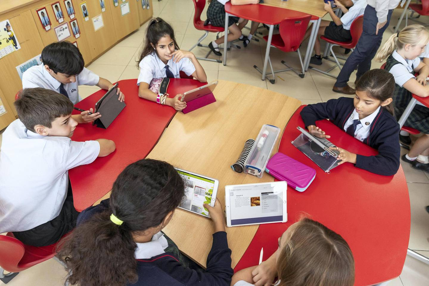 DUBAI, UNITED ARAB EMIRATES. 24 MAY 2018. Students at the Kings School in Al Barsha uses the Pobble app on ipads during a class at school. (Photo: Antonie Robertson/The National) Journalist: Anam Rizvi. Section: National.