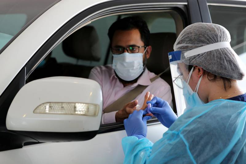 Dubai, United Arab Emirates - Reporter: N/A. Standalone. Covid-19/Coronavirus. People get Laser based DPI tests at the Mina Rashid screening center. Wednesday, August 26th, 2020. Dubai. Chris Whiteoak / The National