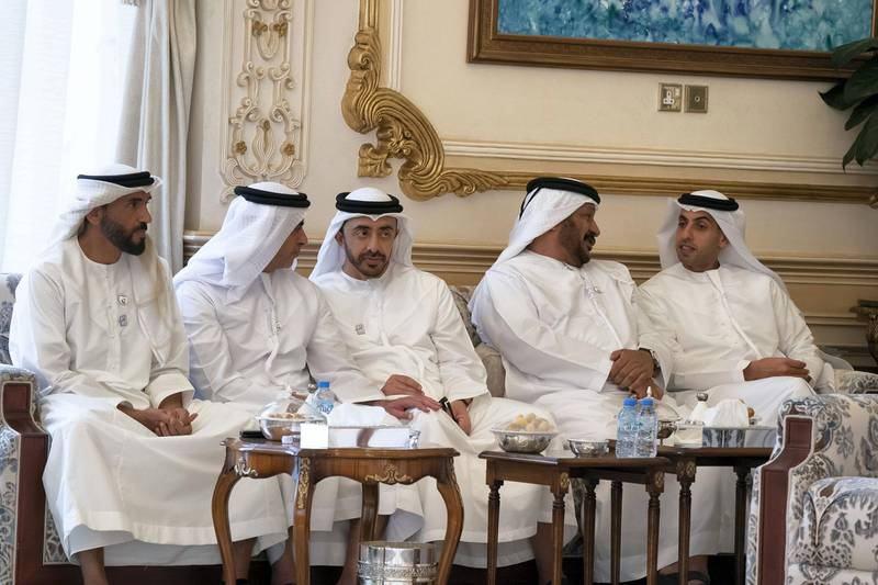 ABU DHABI, UNITED ARAB EMIRATES - March 25, 2019: (L-R) HH Sheikh Nahyan Bin Zayed Al Nahyan, Chairman of the Board of Trustees of Zayed bin Sultan Al Nahyan Charitable and Humanitarian Foundation, HH Lt General Sheikh Saif bin Zayed Al Nahyan, UAE Deputy Prime Minister and Minister of Interior, HH Sheikh Abdullah bin Zayed Al Nahyan, UAE Minister of Foreign Affairs and International Cooperation, HH Sheikh Saeed bin Mohamed Al Nahyan and HH Sheikh Khaled bin Zayed Al Nahyan, Chairman of the Board of Zayed Higher Organization for Humanitarian Care and Special Needs (ZHO), attend a Sea Palace barza.   ( Rashed Al Mansoori / Ministry of Presidential Affairs ) ---