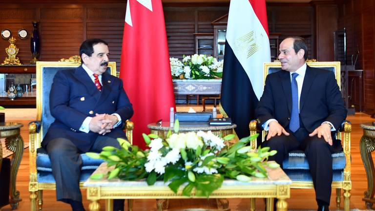 An image that illustrates this article Egypt's El Sisi and Bahrain's King Hamad discuss regional security on Cairo visit