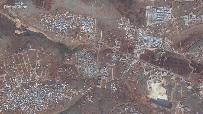 Idlib Displacement Camp B. This image was taken on 02/12/2019. Courtesy Digital Globe