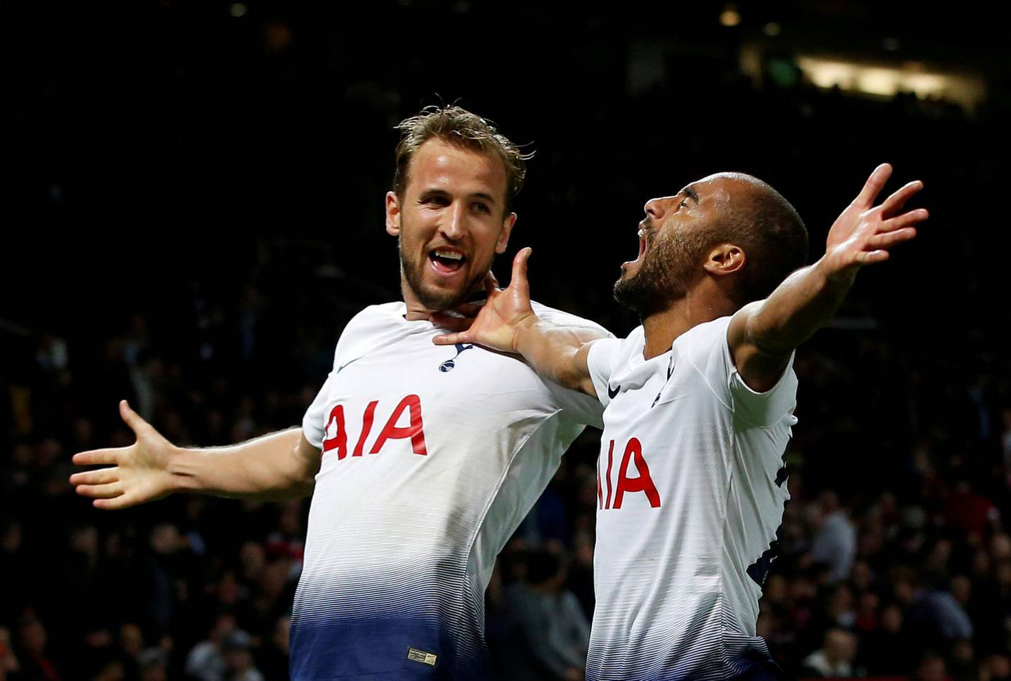 """Soccer Football - Premier League - Manchester United v Tottenham Hotspur - Old Trafford, Manchester, Britain - August 27, 2018  Tottenham's Lucas Moura celebrates scoring their third goal with Harry Kane          REUTERS/Andrew Yates  EDITORIAL USE ONLY. No use with unauthorized audio, video, data, fixture lists, club/league logos or """"live"""" services. Online in-match use limited to 75 images, no video emulation. No use in betting, games or single club/league/player publications.  Please contact your account representative for further details.      TPX IMAGES OF THE DAY"""