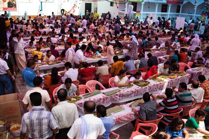 24/09/10 - Abu Dhabi, UAE -   Onam, the festival of Kerala, was held on Friday September 24, 2010 at the Kerala Social Centre in Abu Dhabi.  The festival was postponed due to Ramadan.  It features a 12-course meal and will host more than 2,000 people.   (Andrew Henderson / The National)