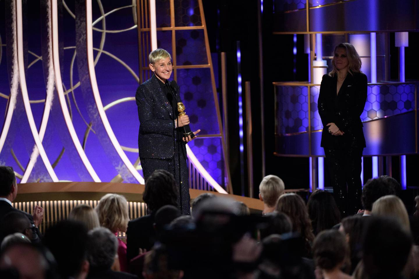epa08106155 A handout photo made available by the Hollywood Foreign Press Association shows Ellen DeGeneres accepting the Carol Burnett Award for her outstanding contribution to television during the 77th annual Golden Globe Awards ceremony at the Beverly Hilton Hotel, in Beverly Hills, California, USA, 05 January 2020.  EPA/HFPA / HANDOUT ATTENTION EDITORS: IMAGE MAY ONLY BE USED UNALTERED, ONE TIME USE ONLY WITHIN 60 DAYS MANDATORY CREDIT HANDOUT EDITORIAL USE ONLY/NO SALES