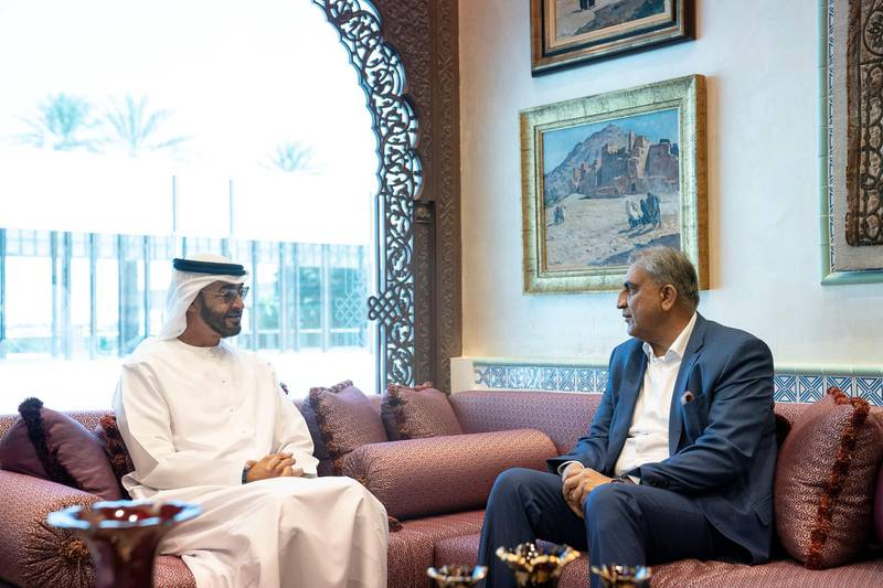 ABU DHABI, UNITED ARAB EMIRATES - December 14, 2019: HH Sheikh Mohamed bin Zayed Al Nahyan, Crown Prince of Abu Dhabi and Deputy Supreme Commander of the UAE Armed Forces (L), meets with General Qamar Javed Bajwa, Chief of Army Staff of the Pakistan Army (R), at the Sea Palace.  ( Ryan Carter / Ministry of Presidential Affairs ) ---