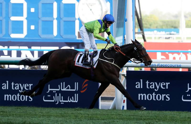 DUBAI , UNITED ARAB EMIRATES , MARCH 27  – 2021 :-   SUBJECTIVIST   (GB) ridden by  JOE FANNING  ( no 11 ) won the 3rd horse race   Dubai Gold Cup 3200m Turf  during the Dubai World Cup held at Meydan Racecourse in Dubai. ( Pawan Singh / The National ) For News/Sports/Instagram/Big Picture. Story by Amith