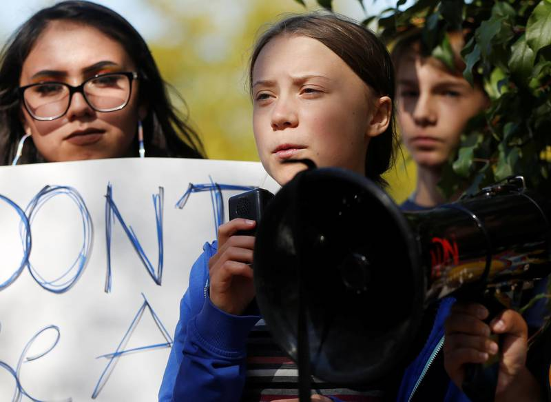 Climate change environmental activist Greta Thunberg speaks at a climate change rally and march in Rapid City, South Dakota, U.S. October 7, 2019. REUTERS/Jim Urquhart