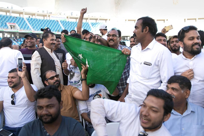 DUBAI, UNITED ARAB EMIRATES - JANUARY 11, 2019. Crowds begin to gather ahead of Rahul Gandhi's speech today at Dubai International Cricket Stadium.(Photo by Reem Mohammed/The National)Reporter: Ramola Talwar.Section:  NA