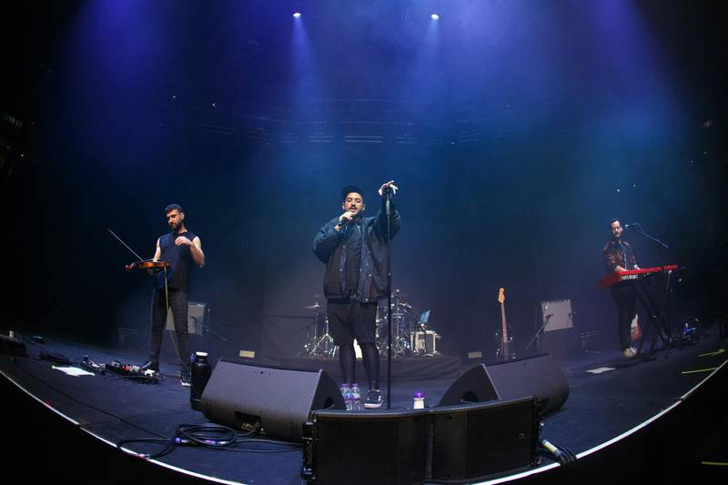 LONDON, ENGLAND - MARCH 07: Haig Papazian, Hamed Sinno and Firas Abou Fakher of Mashrou' Leila perform at The Roundhouse on March 07, 2019 in London, England. (Photo by Burak Cingi/Redferns/Getty Images)