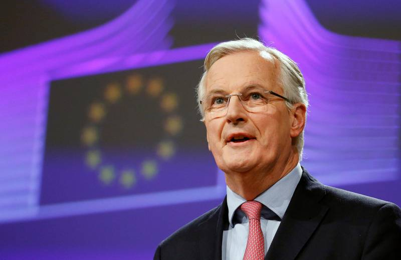 European Union's chief Brexit negotiator Michel Barnier holds a news conference at the EU Commission headquarters in Brussels, Belgium February 9, 2018. REUTERS/Francois Lenoir