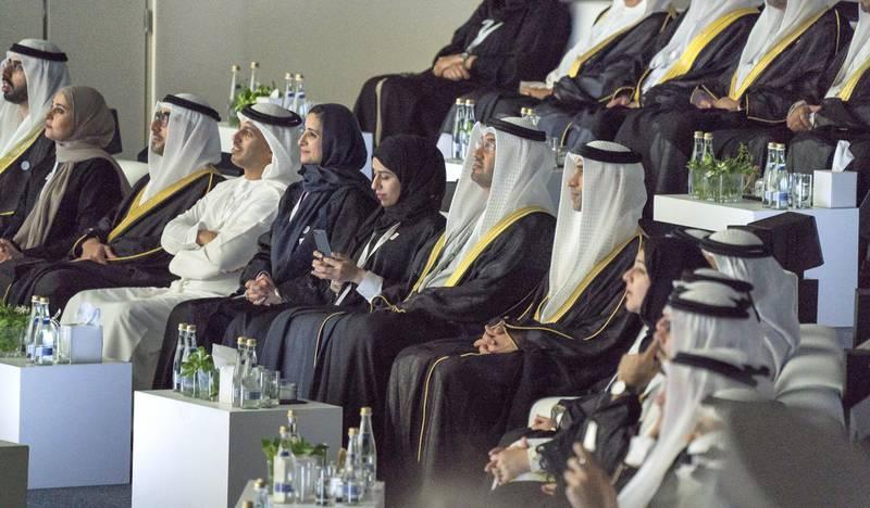 ABU DHABI, UNITED ARAB EMIRATES - February 26, 2018: (L-R) HE Omar bin Sultan Al Olama, UAE Minister of State for Artificial Intelligence, HE Ohood Al Roumi, UAE Minister of State for Happiness and Wellbeing HE Nasser bin Thani Juma Al Hamli, UAE Minister of Human Resources and Emiratisation, HE Dr Ahmed Abdullah Humaid Belhoul Al Falasi, UAE Minister of State for Higher Education, HE Jameela Salem Al Muhairi, UAE Minister of State for Public Education Affairs, HE Hessa Essa Buhumaid, UAE Minister of Community Development, HE Dr Sultan Ahmed Al Jaber, UAE Minister of State, Chairman of Masdar and CEO of ADNOC Group, and HE Dr Thani Al Zeyoudi, UAE Minister for Climate Change and Environment, attend the opening ceremony of The Founder's Memorial. ( Mohamed Al Hammadi / Crown Prince Court - Abu Dhabi ) ---