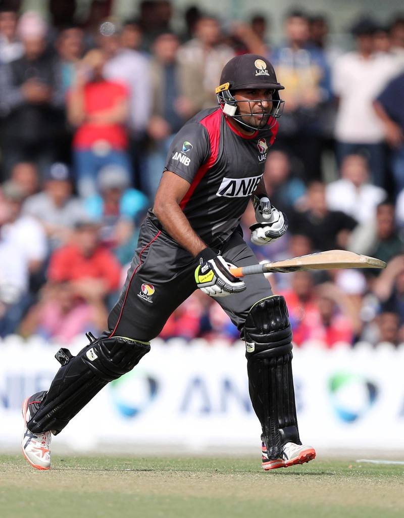 Dubai, United Arab Emirates - January 25, 2019: Ghulam Shabber of the UAE bats in the the match between the UAE and Nepal in a one day internationl. Friday, January 25th, 2019 at ICC, Dubai. Chris Whiteoak/The National