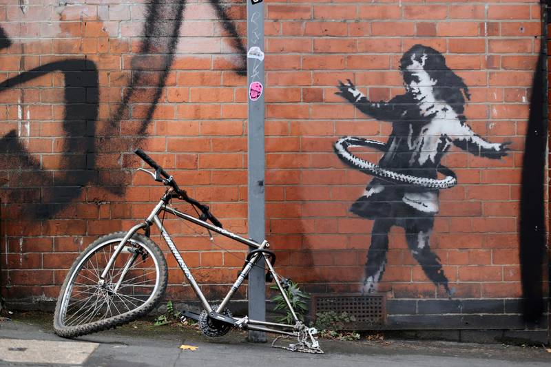 A new Banksy artwork is seen in Rothesay Avenue, Nottingham, Britain October 17, 2020. REUTERS/Carl Recine     TPX IMAGES OF THE DAY
