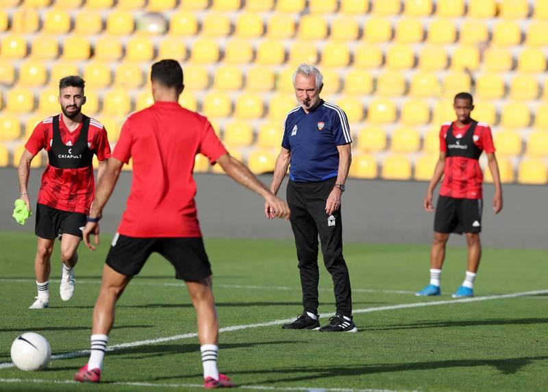 Dubai, United Arab Emirates - Reporter: John McAuley. Sport. Football. UAE head coach Bert van Marwijk takes a training session at Zabeel Stadium, Dubai. Saturday, March 27th, 2021. Dubai. Chris Whiteoak / The National