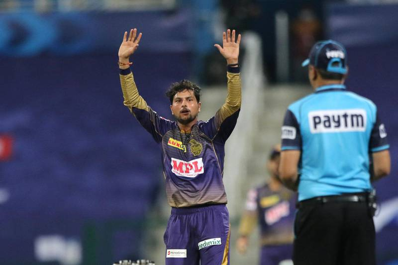 Kuldeep Yadav of Kolkata Knight Riders appeals unsuccessfully for the wicket during match 5 of season 13 of Indian Premier League (IPL) between the Kolkata Knight Riders and the Mumbai Indians held at the Sheikh Zayed Stadium, Abu Dhabi  in the United Arab Emirates on the 23rd September 2020.  Photo by: Pankaj Nangia  / Sportzpics for BCCI