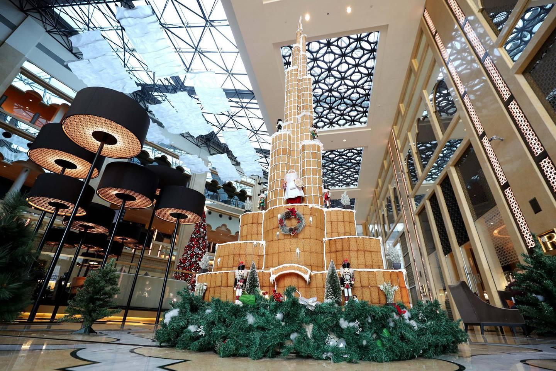Dubai, United Arab Emirates - December 01, 2020: 16-foot-tall Gingerbread Burj Khalifa display for Xmas at the H Hotel in Dubai. Tuesday, December 1st, 2020 in Dubai. Chris Whiteoak / The National