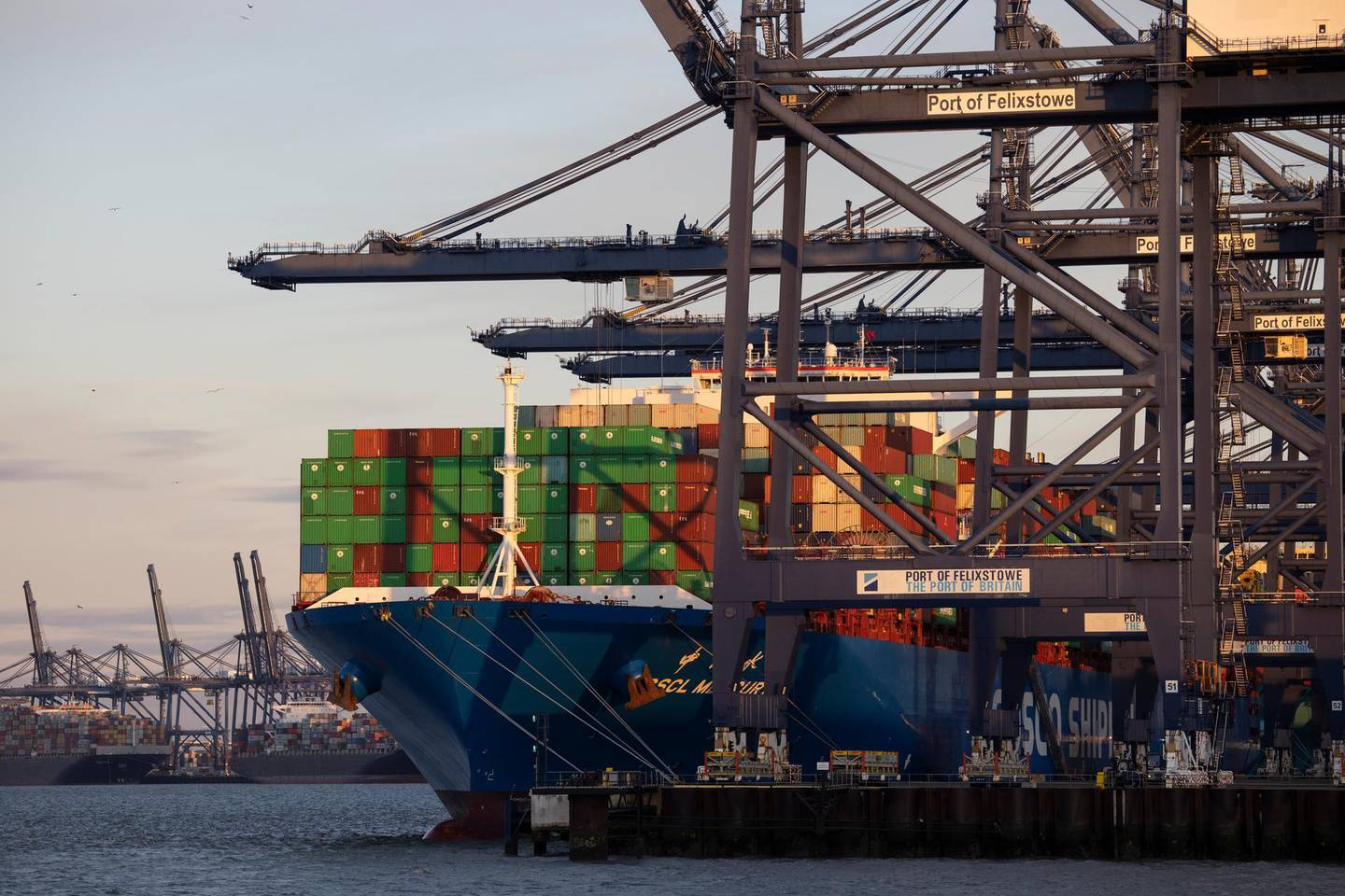"""FELIXSTOWE, ENGLAND - NOVEMBER 16: The CSCL Mercury is loaded before departure from Felixtowe Port on November 16, 2020 in Felixstowe, England. Shipping companies and retailers have complained of delays in unloading arriving freight, with one ship told it could wait up to 10 days for a berthing slot. The port's owner, Hutchison Ports UK, said """"the imbalance in UK trade and Brexit stockpiling exacerbate current operational challenges and we are working with our customers and stakeholders to get through the current congestion."""" (Photo by Dan Kitwood/Getty Images)"""