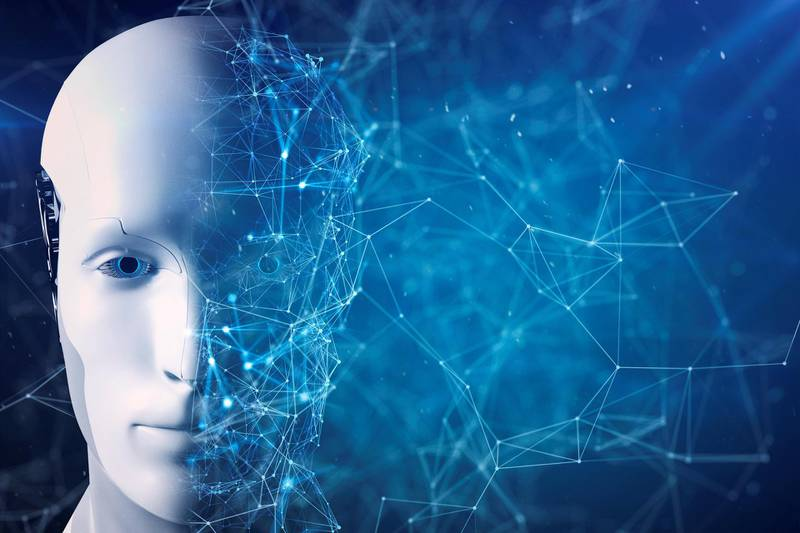 Artificial Intelligence robot face is divided in two parts, completion and inside of networking form.