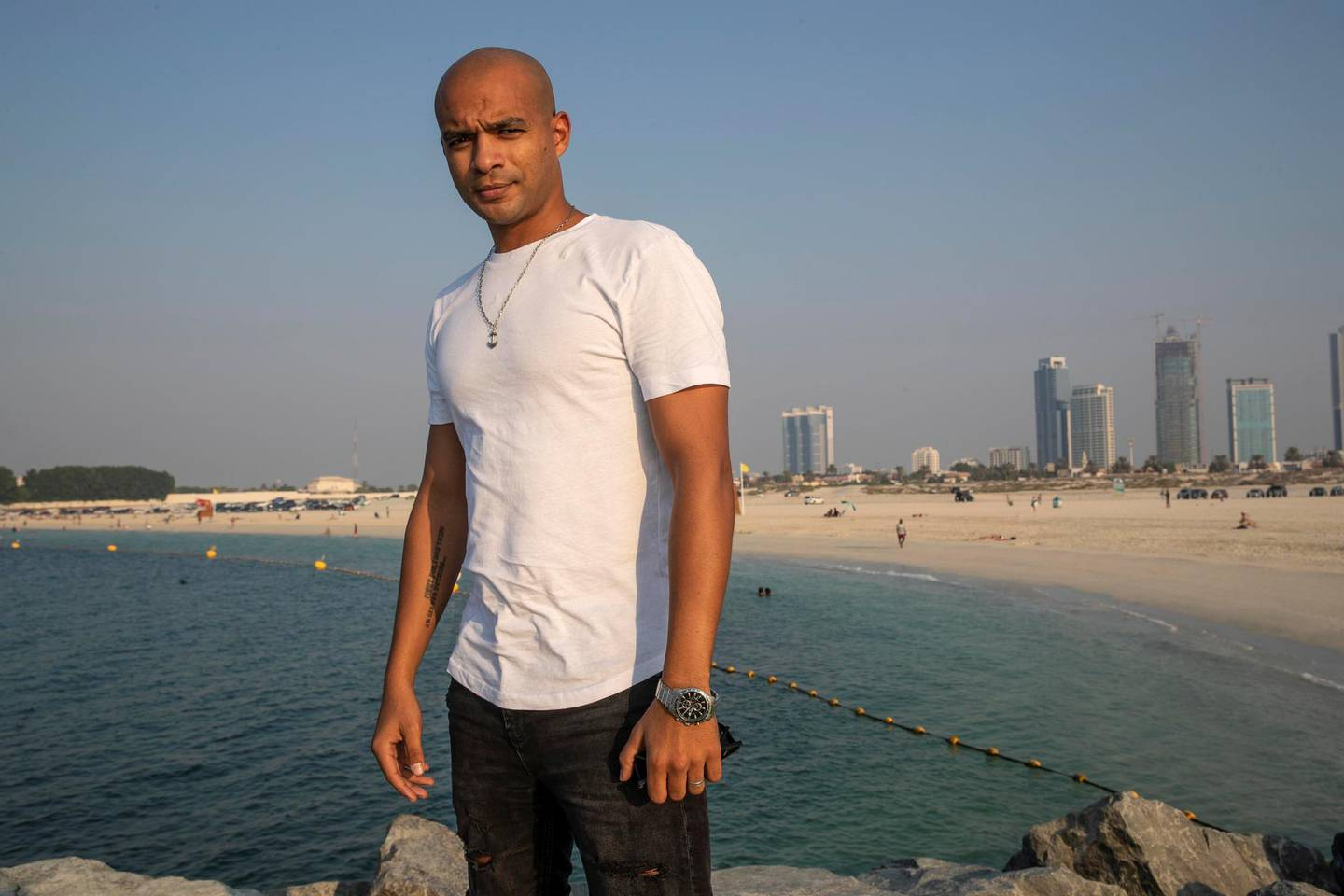 DUBAI UNITED ARAB EMIRATES. 02 NOVEMBER 2020. Shehab Allam, Egyptian champion who has mono-swum the whole of the 25km of Dubai Canal, a world first. He talks about the difficulty of continuing in the sport when it doesn't pay. At 29, he has not entered any competitions since he was 17, as he had to work to earn money instead. (Photo: Antonie Robertson/The National) Journalist: Suzanne Locke. Section: National.