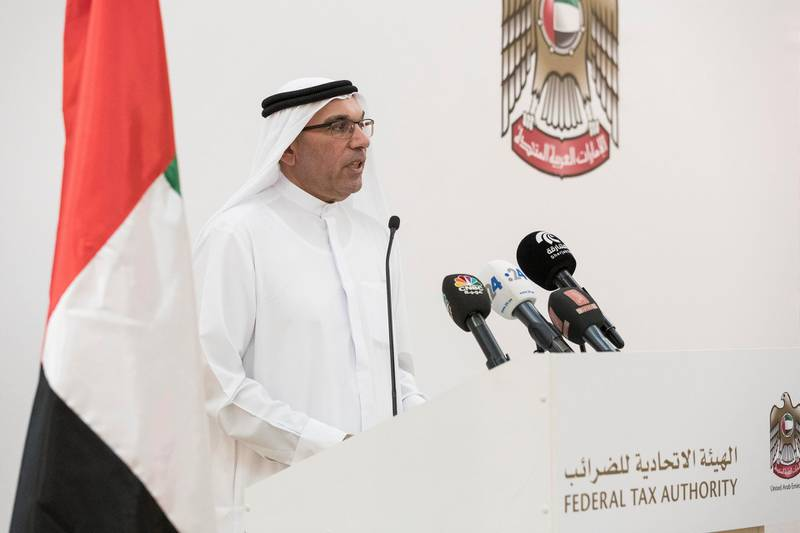 ABU DHABI, UNITED ARAB EMIRATES. 15 AUGUST 2017. Press conference hosted by the Federal Tax Authority at the Ministry of Finance about the upcoming launch of VAT. Khalid al Bustani, Director General of the Federal Tax Authority. (Photo: Antonie Robertson/The National) Journalist: Dania Alsaadi. Section: Business.