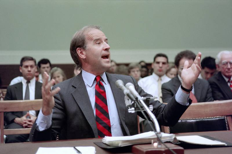 US Senator Joseph Biden, D-Del., speaks on July 13, 1989 before a House of Representatives panel about flag burning. - Biden, chairman of the Senate Judiciary Committee, told House members that his bill to outlaw flag burning was the best way to overcome the Supreme Court ruling which protects the action as a form of free speech. Other lawmakers insisted that only a onstitutional amendment would suffice. (Photo by Jerome DELAY / AFP)