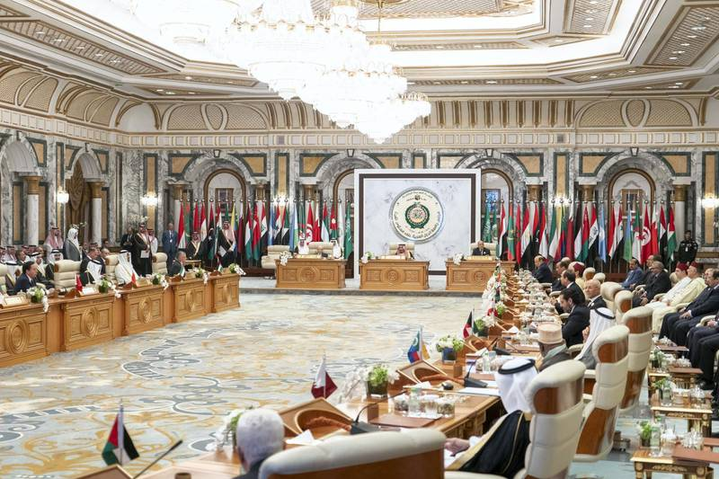 MECCA, SAUDI ARABIA - May 31, 2019: HH Sheikh Mohamed bin Zayed Al Nahyan, Crown Prince of Abu Dhabi and Deputy Supreme Commander of the UAE Armed Forces (), heads the UAE delegation to the Arab League emergency summit in Mecca.  ( Rashed Al Mansoori / Ministry of Presidential Affairs ) ---