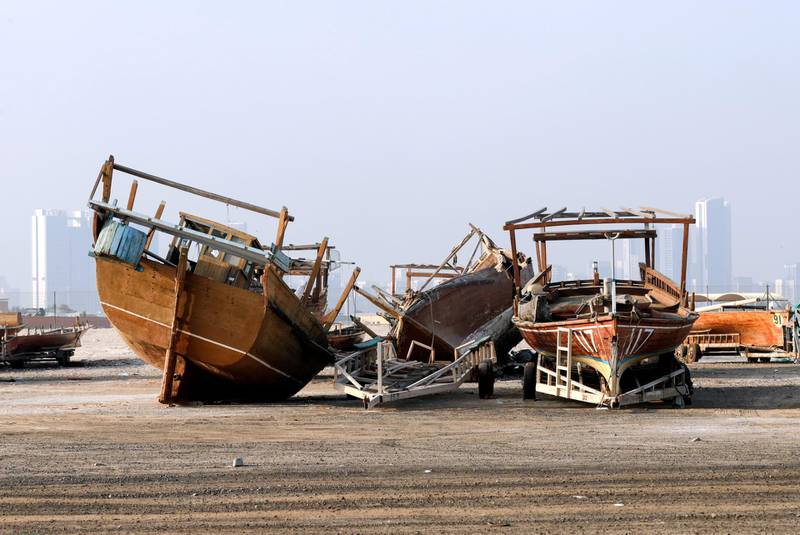 Abu Dhabi, United Arab Emirates, June 18, 2019.  Dhow graveyard at the Al Mina area, Abu Dhabi.Victor Besa/The NationalSection:  NAFor:  standalone or big picture