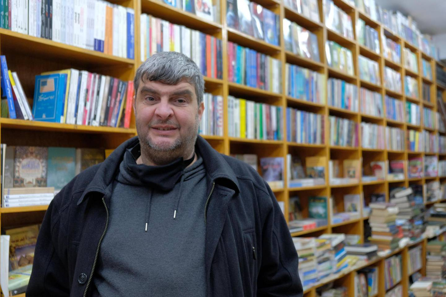 Raed Al Muhtaseb stands in his bookshop in downtown Amman. Amy McConaghy / The National