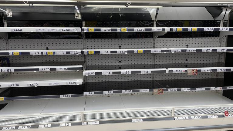 An image that illustrates this article Tesco warns of panic-buying fears amid driver shortage
