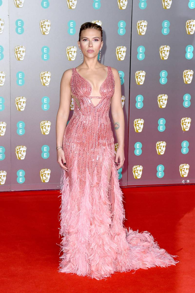 LONDON, ENGLAND - FEBRUARY 02: Scarlett Johansson attends the EE British Academy Film Awards 2020 at Royal Albert Hall on February 02, 2020 in London, England. (Photo by Gareth Cattermole/Getty Images)