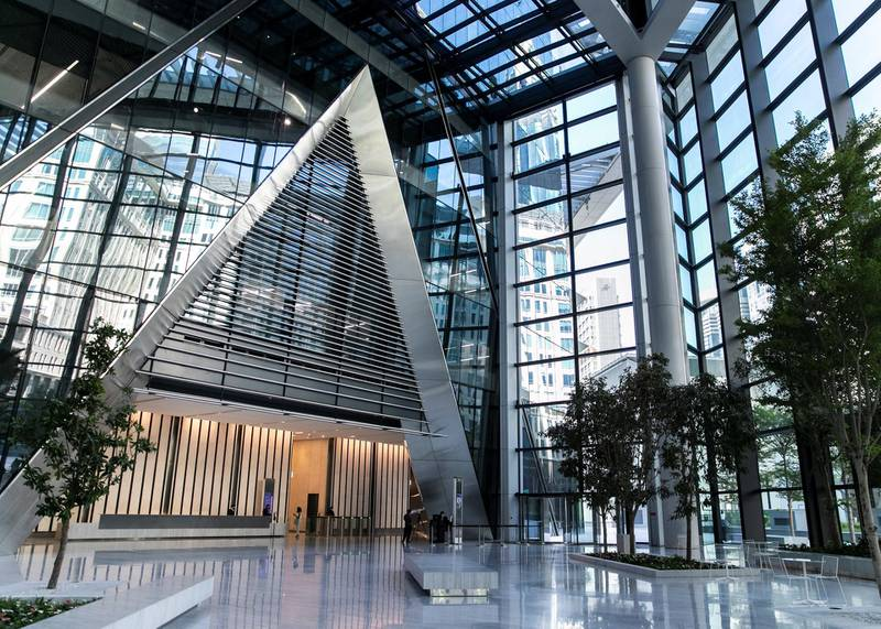 DUBAI, UNITED ARAB EMIRATES. 18 OCTOBER 2020. Lobby of ICD Brookfield Place building on Al Mustaqbal Street.(Photo: Reem Mohammed/The National)Reporter:Section: