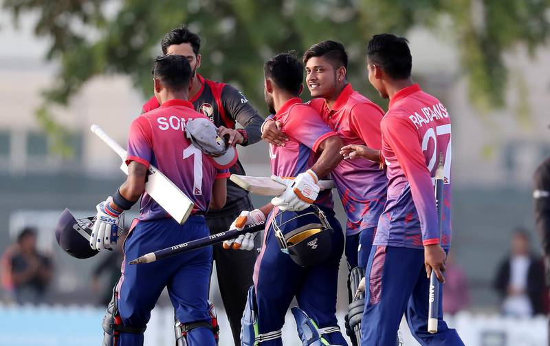 DUBAI , UNITED ARAB EMIRATES , January 28 – 2019 :- Players of Nepal celebrating after Nepal won the match by 4 wickets in the one day international cricket match between UAE vs Nepal held at ICC cricket academy in Dubai. ( Pawan Singh / The National ) For Sports. Story by Paul