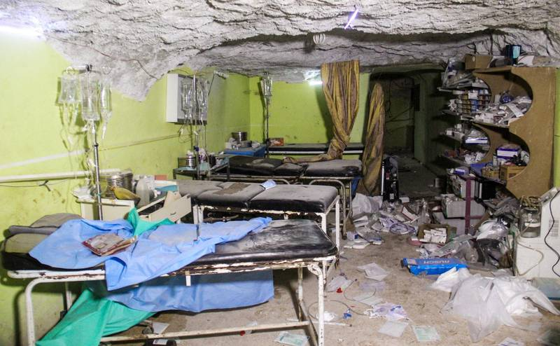 A picture taken on April 4, 2017 shows destruction at a hospital room in Khan Sheikhun, a rebel-held town in the northwestern Syrian Idlib province, following a suspected toxic gas attack. - A suspected chemical attack killed dozens of civilians including several children in rebel-held northwestern Syria, a monitor said, with the opposition accusing the government and demanding a UN investigation. (Photo by Omar haj kadour / AFP)