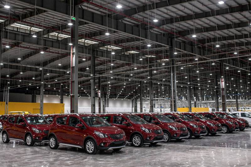 VinFast Fadil hatchbacks sit inside the automaker's plant in Haiphong, Vietnam, on Friday, June 14, 2019. Real-estate conglomerateVingroup JSC's auto unit VinFast marked the rollout of its first vehicles from its assembly line on Friday, embodying the aspirations of the fast-developing country's government to build a modern manufacturing sector. Photographer: Yen Duong/Bloomberg