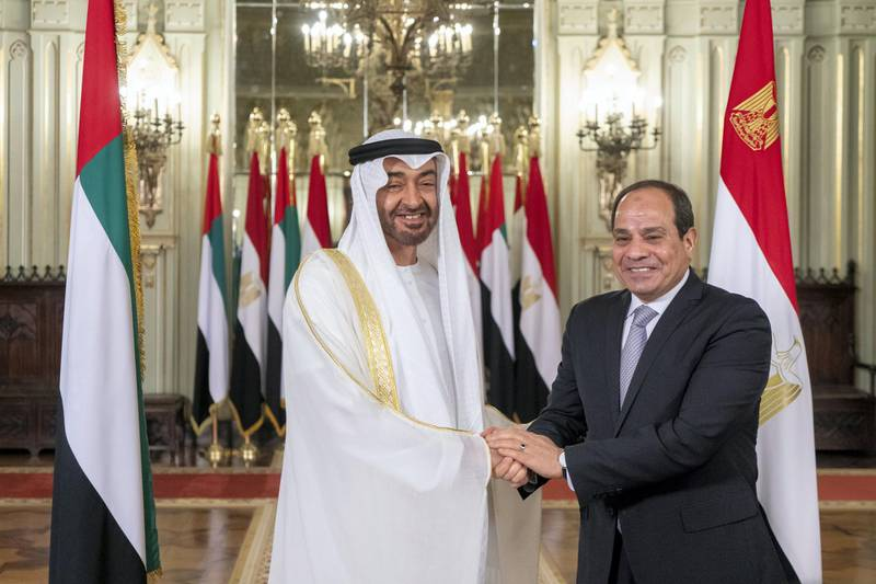 ALEXANDRIA, EGYPT - March 27, 2019: HH Sheikh Mohamed bin Zayed Al Nahyan, Crown Prince of Abu Dhabi and Deputy Supreme Commander of the UAE Armed Forces (L) stands for a photograph with HE Abdel Fattah El Sisi President of Egypt (R), at Ras El Tin Palace.  ( Rashed Al Mansoori / Ministry of Presidential Affairs ) ---