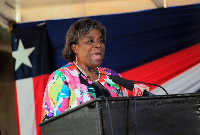 epa08837903 (FILE) - US Assistant Secretary of State for African Affiars Linda Thomas-Greenfield speaks during the official inauguration of the Mount Coffee Power Plant in Harrisburg, outside Monrovia, Liberia, 15 December 2016 (Reissued 23 November 2020). According to reports on 23 November 2020, US President-elect Joe Biden will nominate Linda Thomas-Greenfield to become the US Ambassador to the UN.  EPA/AHMED JALLANZO *** Local Caption *** 53165771