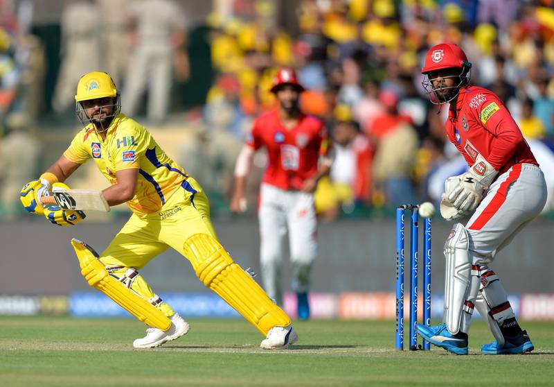 Chennai Super Kings cricketer Suresh Raina (L) plays a shot during the 2019 Indian Premier League (IPL) Twenty20 cricket match between Kings XI Punjab and Chennai Super Kings at the Punjab Cricket Association Stadium in Mohali on May 5, 2019. (Photo by Sajjad HUSSAIN / AFP) / ----IMAGE RESTRICTED TO EDITORIAL USE - STRICTLY NO COMMERCIAL USE-----