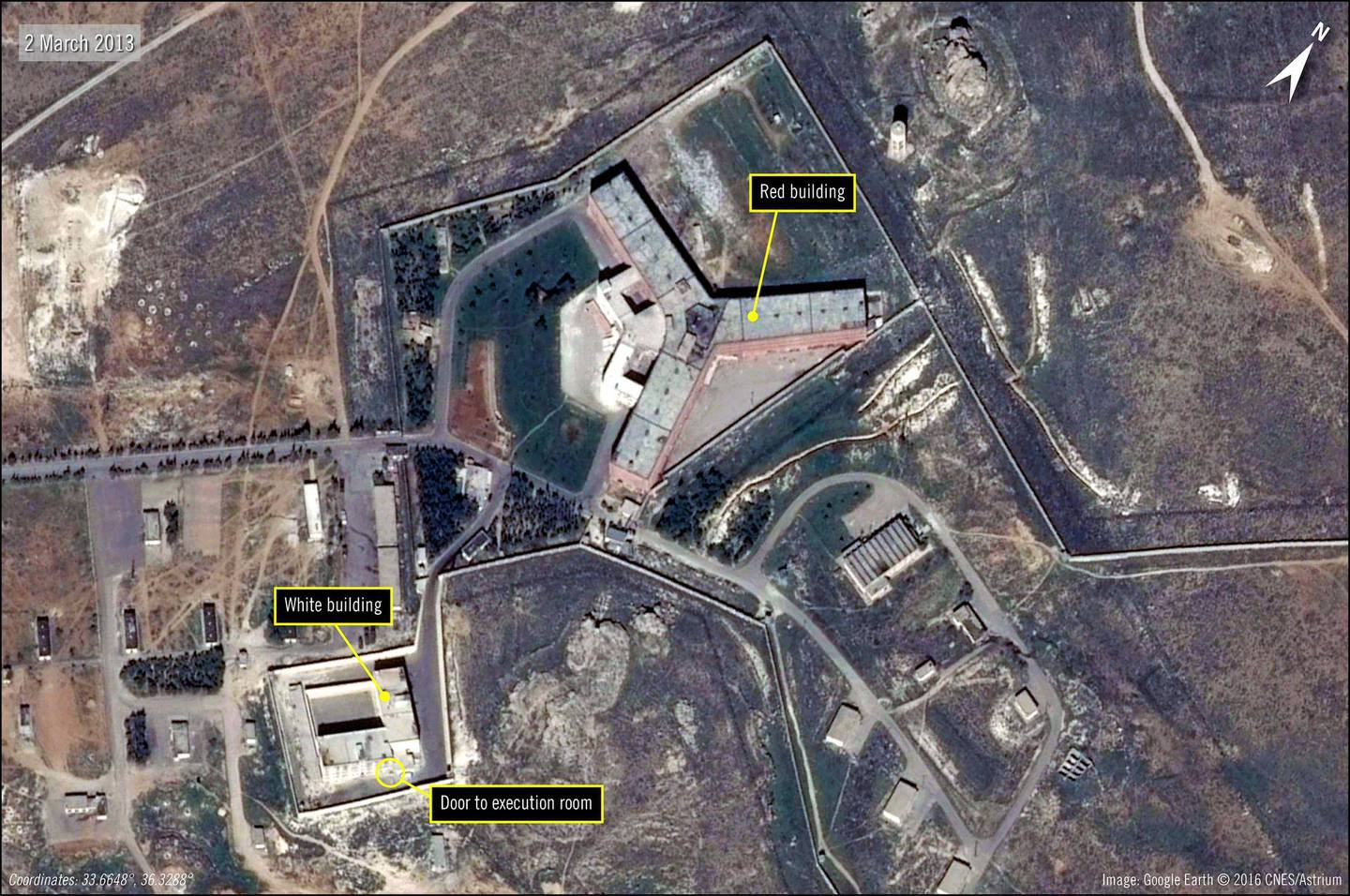 A handout satellite image released by The French national Space study centre (CNES) and the ASTRIUM, the aerospace maufacture subsiduary of the European Aeronautic Defence and Space Company (EADS) and received from Amnesty International on February 7, 2017 by shows the military-run Saydnaya prison, one of Syria's largest detention centres located 30 kilometres (18 miles) north of Damascus.   The United States on May 15, 2017 accused Syria of building a prison crematorium to destroy the remains of thousands of murdered detainees, putting pressure on Russia to rein in its ally. Warning Moscow it should not turn a blind eye to Bashar al-Assad's crimes, the State Department released satellite images that it said backed up reports of mass killings at the Syrian jail.    / AFP PHOTO / AFP / Handout