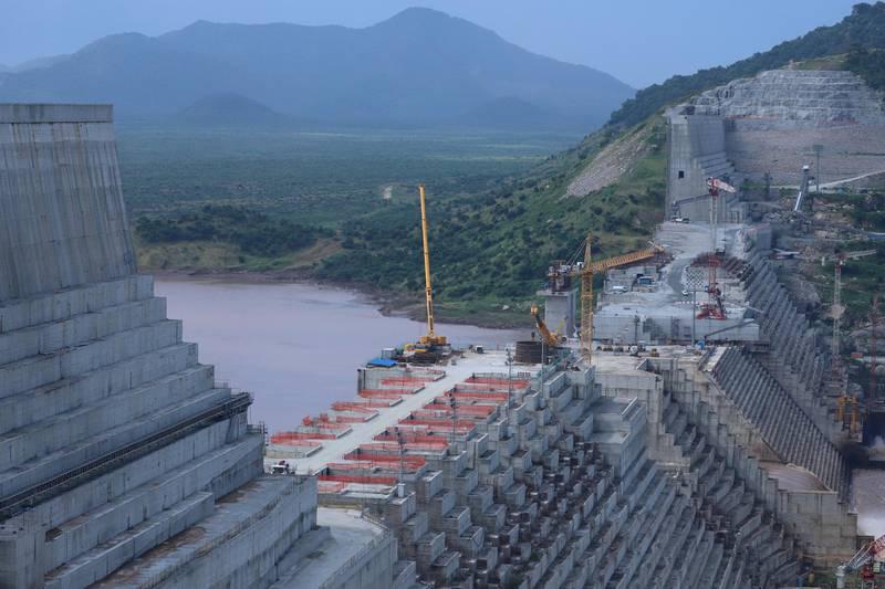 FILE PHOTO: Ethiopia's Grand Renaissance Dam is seen as it undergoes construction work on the river Nile in Guba Woreda, Benishangul Gumuz Region, Ethiopia September 26, 2019. REUTERS/Tiksa Negeri/File Photo/File Photo