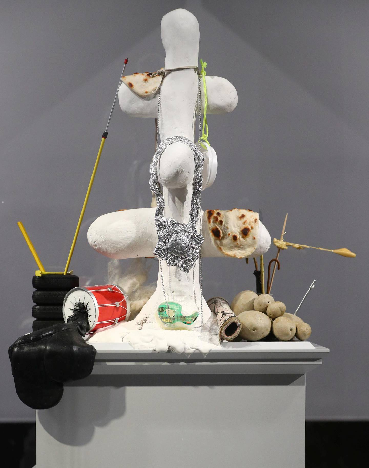 """""""The Jewellery Tree"""" by Nicole Eisenman, one of six artworks shortlisted as the next design for the Fourth Plinth at Trafalgar Square, is seen on display inside the National Gallery in London, Britain, May 24, 2021. REUTERS/Hannah McKay"""