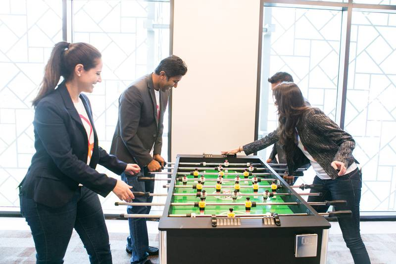 DUBAI, UNITED ARAB EMIRATES, 2 FEB 2016.  Millenials playing foosball at Rove Hotel.  Emirates NBD today announce the launch of Liv., UAE's first digital bank targeting millenials.  Photo: Reem Mohammed / The National (Reporter: Michael Fahy / Section: BZ) ID 22639 *** Local Caption ***  RM_20160202_bz_LIV _004.JPG