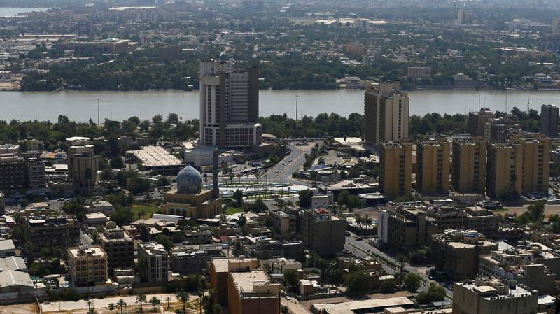 An aerial view of Baghdad, Iraq July 11, 2020. Picture taken on board a helicopter. Picture taken July 11, 2020. REUTERS/Thaier Al-Sudani