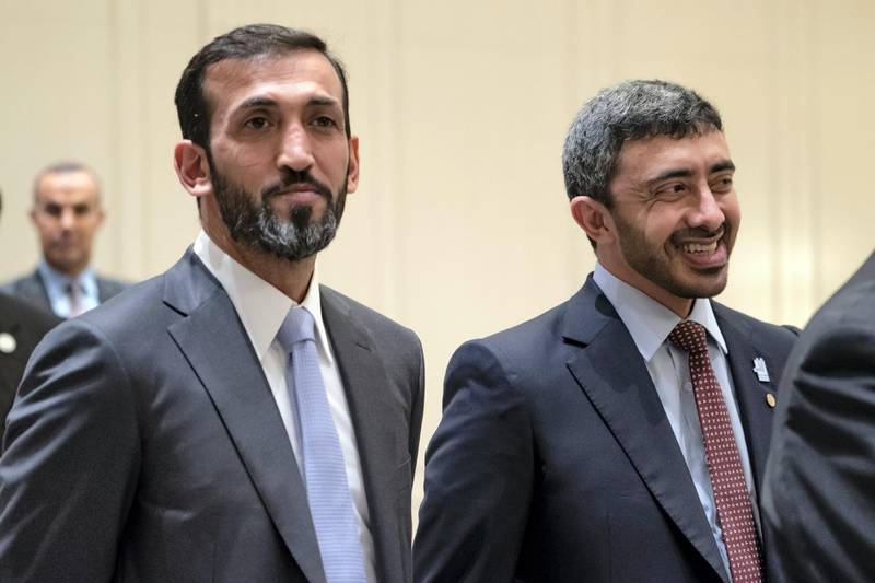 BERLIN, GERMANY - June 12, 2019:HE Mohamed Mubarak Al Mazrouei, Undersecretary of the Crown Prince Court of Abu Dhabi (L) and HH Sheikh Abdullah bin Zayed Al Nahyan, UAE Minister of Foreign Affairs and International Cooperation (R), attend a meeting with representatives of German companies from various sectors, in Berlin.  ( Mohamed Al Hammadi / Ministry of Presidential Affairs ) ---