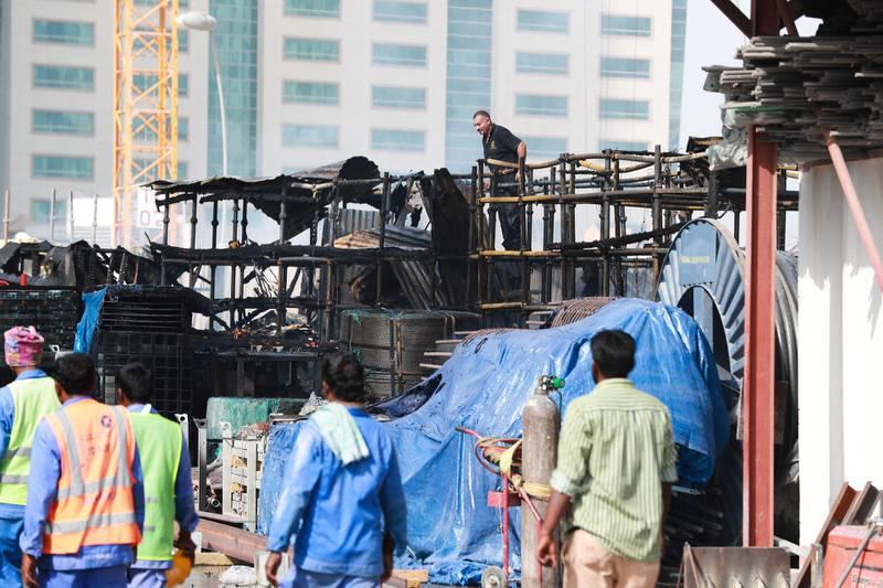 Abu Dhabi, U.A.E., June 2, 2018.   Al Reem fire near Repton Foundation School  A.l Reem IslandVictor Besa / The NationalReporter: Section:  National